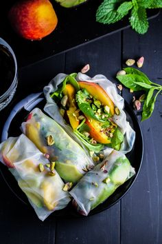 Peach and Avocado Summer Rolls: sauce made with almond butter, tamarind paste, soy sauce, maple syrup.  Kind of a more solid riff on mango salsa.