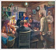 Зайцев Юрий Антонович (Россия, 1884-1972) «Колхозники слушают речь т.Сталина по радио» 1936-1939