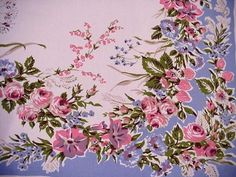 Vintage 40's COTTAGE FLORAL LG Tablecloth Roses Strawberries