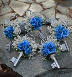 Made To Order ..... Skeleton Key Boutonniere in by ForeverBouquet