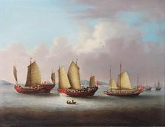 Chinese junks off Hong Kong, - Chinese School (c. 1835)