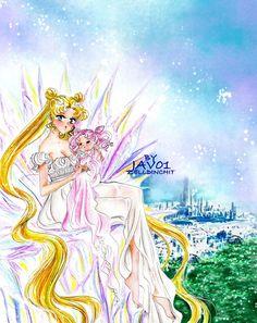 Serenity (Usagi) and ChibiUsa in Tokyo of crystal by zelldinchit - Sailor Moon fanart