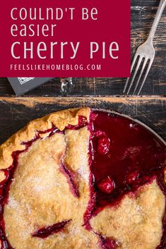 The best classic, simple, and easy cherry pie recipe - This pie takes less than 5 minutes to assemble because it uses canned pie filling and pre-made crust. Sweet, old fashioned, homemade pie that doesn't take any time to make. Homemade Cherry Pies, Homemade Pastries, Homemade Pie, Easy Pie Recipes, Baking Recipes, Dessert Recipes, Canning Cherry Pie Filling, Canned Cherry Pie Recipe Easy, Cherry Pie Recipes