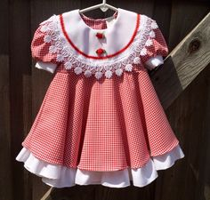 Red Gingham Dress 18-24 Months by lishyloo on Etsy