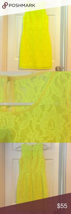 J. Crew yellow lace dress A beautiful neon yellow lace dress that will impress! Never been worn other than trying on. J. Crew Dresses