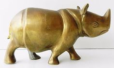 1850 s Indian Antique Hand Carved Crafted Rhinoceros Statue Brass Figurine