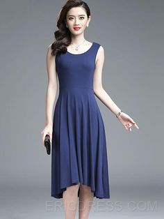Ericdress Soild Color Asymmetric Sleeveness Casual Dress 7