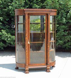 Tiger Oak Victorian Bow Front China Closet Full Columns Large Paw Feet w Key #Victorian #JohnEbertFurniture