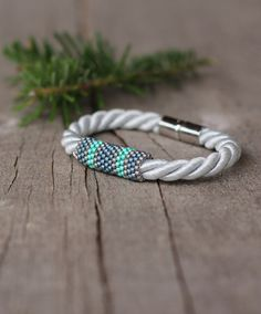 White silver blue green rope bracelet - magnetic closure - contemporary jewelry…
