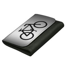 Silver Metallic Bicycle Wallet ~  features an abstract pattern of a black bicycle on a silver, gray and white metallic background.