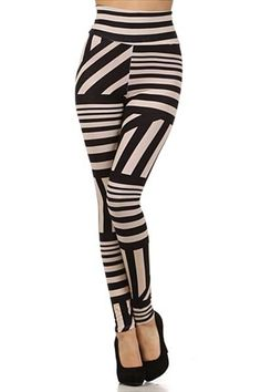 Vogue Bandeau High Waist Leggings #worldofleggings #leggings #stripes