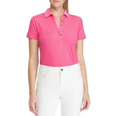 An Art Deco inspired pattern teams with a performance fabric equipped with moisture wicking and UV protection in this Tailored Fit Golf Polo shirt, making it both functional and effortlessly chic.  Tailored Fit Golf Polo: a gently tapered silhouette. Short sleeves with contrast stripes at the ribbed armbands. Vented hem. Signature embroidered pony at the left chest. Ribbed Polo collar. Ribbed V-neck Machine washable. Imported. Shell: polyester, elastane. Lining: polyester. Model is… Golf Wear, Golf Polo Shirts, Mens Xl, Art Deco, Short Sleeves, Stripes, Fabric, Model, Tela