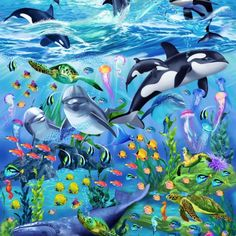 SEALIFE VACATION PANEL Panel x from Timeless Treasures by Michael Searle features dolphins, whales, turtles, sea horses, and other sea life in ocean waters with island palm trees above and a colorful reef bel Underwater Painting, Underwater Sea, Modes4u, Diy Design, Big Whale, Jungle Art, Sacred Architecture, Wale, Animal Nursery