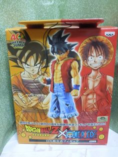 New Dragon Ball Z x One Piece 40th DX Figure Luffy Style Gokou Figure Rare #BANPRESTO