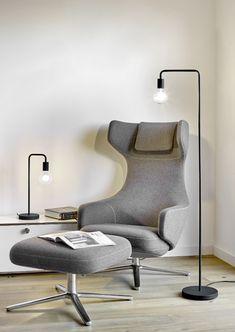 Lampa podłogowa Diallo Retro Lampe, Living Room Grey, Egg Chair, Led Lamp, Floor Chair, Design Inspiration, House Design, Black And White, Lighting