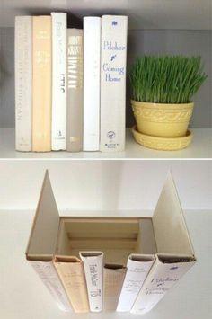 Hidden storage with book spines