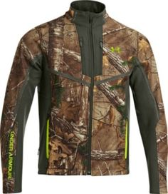 The CGI Scent-Control Speed Freek Jacket from Under Armour features ColdGear® infrared technology that traps body heat for maximum warmth. The wind-resistant and ultra-quiet softshell has a durable water-repellent finish, while the polyester/spandex construction allows you to move silently. Imported. Sizes: S-2XL. Camo pattern: Mossy Oak® Treestand®, Realtree XTRA®.