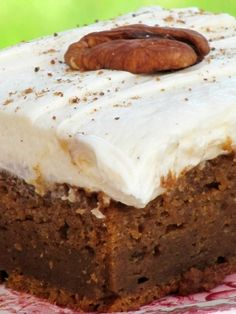 Pine Cones and Acorns: Spiced Pumpkin Bars with Whipped Cream Cheese Frosting