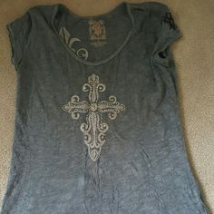 Womens rebel stone tunic Powder blue with white graphics. Graphics are raised and has stones on the cross.   I wore it once.  Now I've lost weight so it's too big. Like new Tops Tees - Short Sleeve