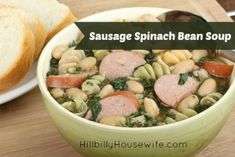 Sausage Spinach Bean Soup | Hillbilly Housewife. Filling, hardy soup and perfect for using up leftover beans.