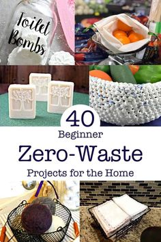40 Beginner Zero Waste Projects for the Home that anyone can do. Zero Waste Toilet Cleaner UnPaper Towels Repurposed Plastic Bag Basket DIY Dryer Balls Upcycling Tote Reuseable Produce Bags DIY Soap Bottle Cap repurposing and more! Decor Scandinavian, Reduce Reuse Recycle, Diy Recycle, Dryer Balls, Produce Bags, Easy, Zero Waste, Reduce Waste, Recycled Crafts