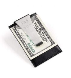 uck your tens and twenties into this fashionable Personalized Leather Money Clip! Available in three stylish colors and Classic Black, this personalized top-grain leather accessory includes plenty of space for both bills and credit cards and includes a no-slip clip to hold everything in place. Available in Classic Black, Chestnut Brown, Sporty Red and Charcoal Gray.