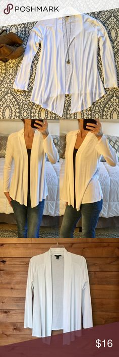 "White Alfani Cotton Cardigan Alfani's essential cardigan, great for layering. Lightweight. Longer front lapel. Super soft cotton luxe touch. In like new condition.▪️Color: White ▪️Fabric: 45% modal 55% cotton ▪️Size: S▪️Bust: 22"" ▪️Length: 23"" shortest 28"" longest Alfani Sweaters Cardigans"