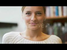 Close Up Of Woman's Face Smiling And Looking To Camera (Stock Footage)