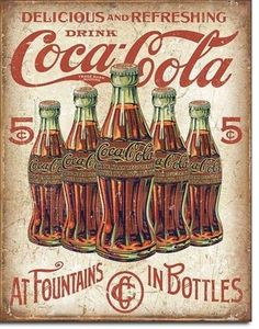 COCA COLA metal sign black bottle in hand vintage style coke ad soda pop Coca Cola Vintage, Pub Vintage, Vintage Labels, Vintage Signs, Ideas Vintage, Vintage Stuff, Vintage Industrial, Vintage Photos, Coca Cola Poster