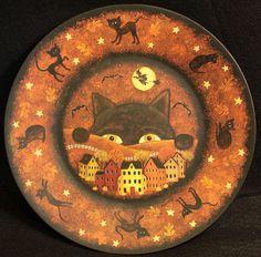Halloween Folk Art Wood Plate - Hand from Ravens Bend Folk Art