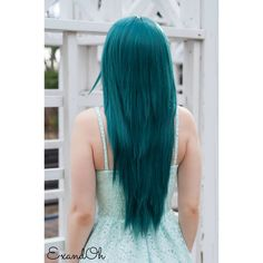 ON SALE Jaded Green Long Straight Layered Wig Thick Beautiful Lushious... ($58) ❤ liked on Polyvore