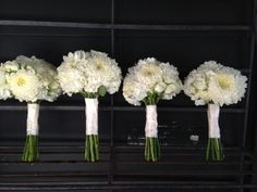 Bridesmaid Bouquets for Ann with China Mums, Hydrangeas, roses and dahlias