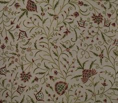 Banyan Fabric An elegant, traditional tree-of-life design hand embroidered in Green and Red wool on linen.