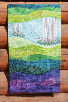*** pictures of amazing quilts! wavy landscape wall quilt idea (other similar landscapes at this site) Patchwork Quilting, Applique Quilts, Small Quilts, Mini Quilts, Quilting Projects, Quilting Designs, Quilt Art, Beach Quilt, Landscape Art Quilts