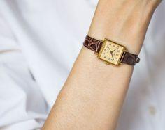 Square women's watch Dawn gold plated wristwatch by SovietEra