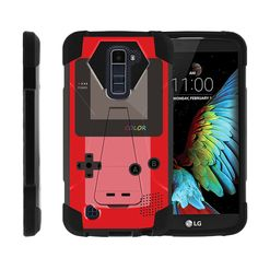 LG K10 | Premier LTE Case SHOCK FUSION Hybrid Shock Silicone Cover Kickstand - Red Gameboy Color