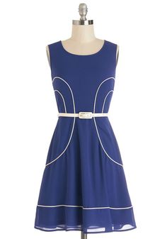 Soho Soiree Dress - Blue, White, Trim, Belted, Casual, Vintage Inspired, 60s, Americana, A-line, Sleeveless, Woven, Good, Scoop, Mid-length