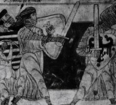 Early 13th Century German image- depicting the same flat-top helmets, heater-shields and surcoats- showing a universality of design across England and Germany.