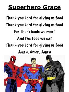 Easy to learn grace or Prayer before meals for preschool children Sunday School Lessons, Lessons For Kids, Bible Lessons, Superhero Kids, Superhero School, Mealtime Prayers, Vacation Bible School 2017, Hero Central Vbs, Prayers