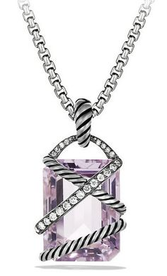 Cable Wrap Pendant with Lavender Amethyst and Diamonds