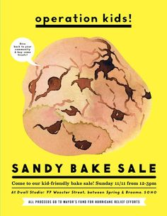 Hurricane Sandy Bake Sale this Sunday (please spread the word!). Flier by Erin Jang and Samantha Hahn