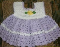Crocheted Baby Dress ~ sizes 3-6 mos, 6-9 mos & 9-12 mos. ~ FREE - CROCHET ~ simply adorable!