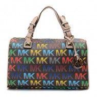 Michael Kors Grayson Medium MK Logo Monogram Satchels Black $100.49  http://www.newperfectstyle.com