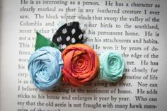 Rosette Hair Clip with leaves and feather blue orange by Brydferth, $30.00
