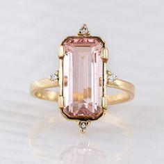 Morganite and diamond ring, available online at www.melaniecasey.com #melaniecaseyjewelry