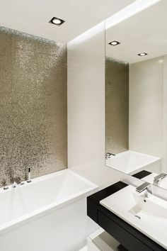 Beautiful minimalist apartment designed by Design Studio Dragon Art located in Gdynia, Poland. Bathroom Interior, Modern Bathroom, Small Bathroom, Bathroom Ideas, Bathroom Storage, Shower Storage, Bathroom Sinks, Bathroom Wall, Bathroom Lighting