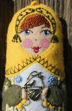 Matryoshka  with Bird and Nest Hand by TheSnowQueensGarden on Etsy
