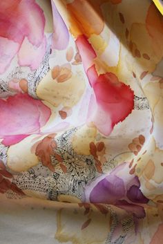 "Image of ""Autumnal"" hand-painted silk scarf by Asta Masiulyte"