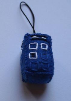 Doctor Who Tardis handmade geeky key ring made from felt