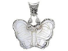 Artisan Gem Collection Of Bali(Tm) Carved White Mother Of Pearl Butterfly Sterling Silver Pendant